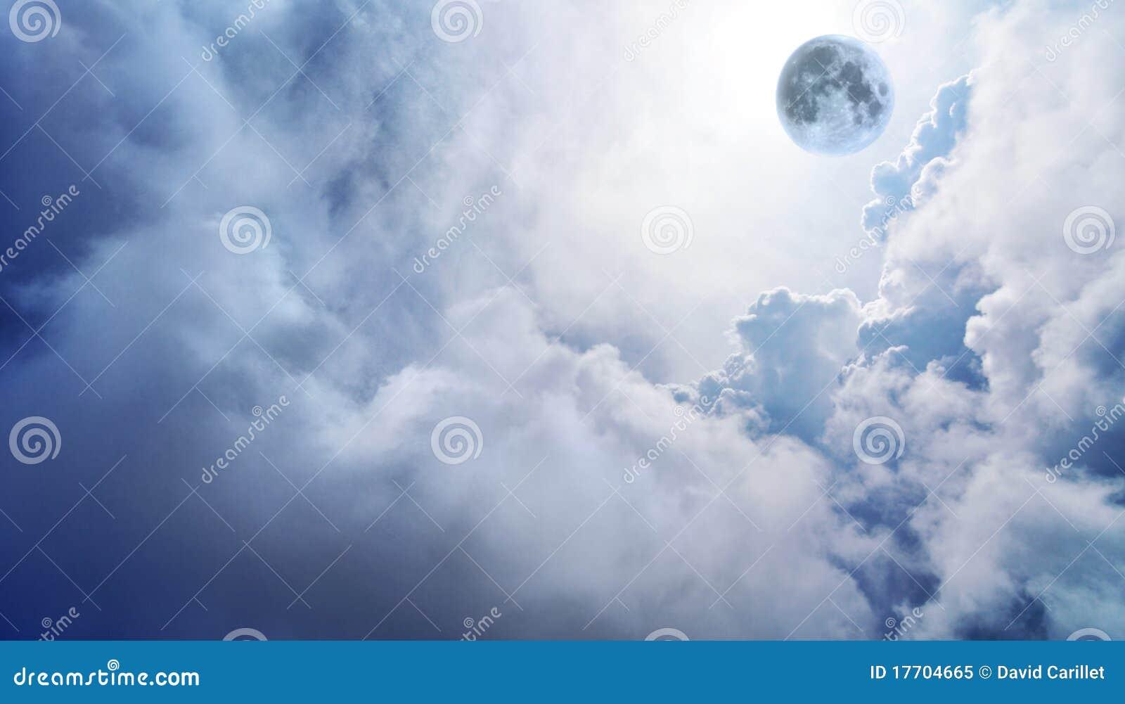 Full moon in dreamy fantasy sky