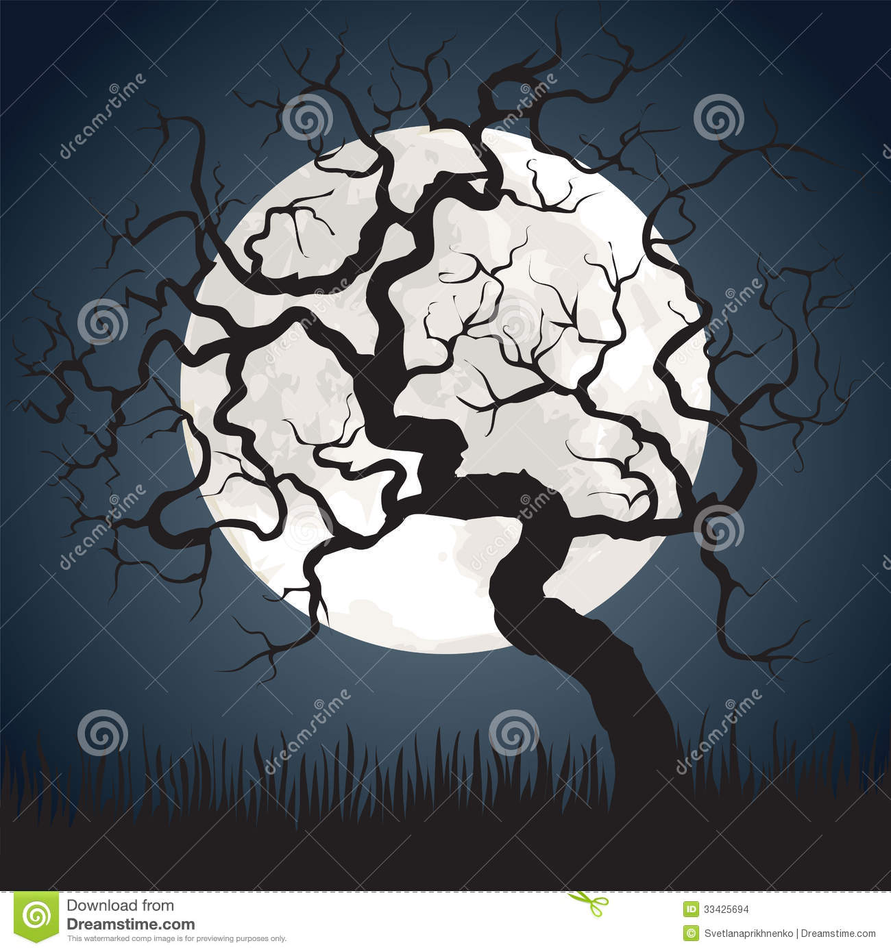 Full Moon And Gnarled Tree Stock Vector Illustration Of