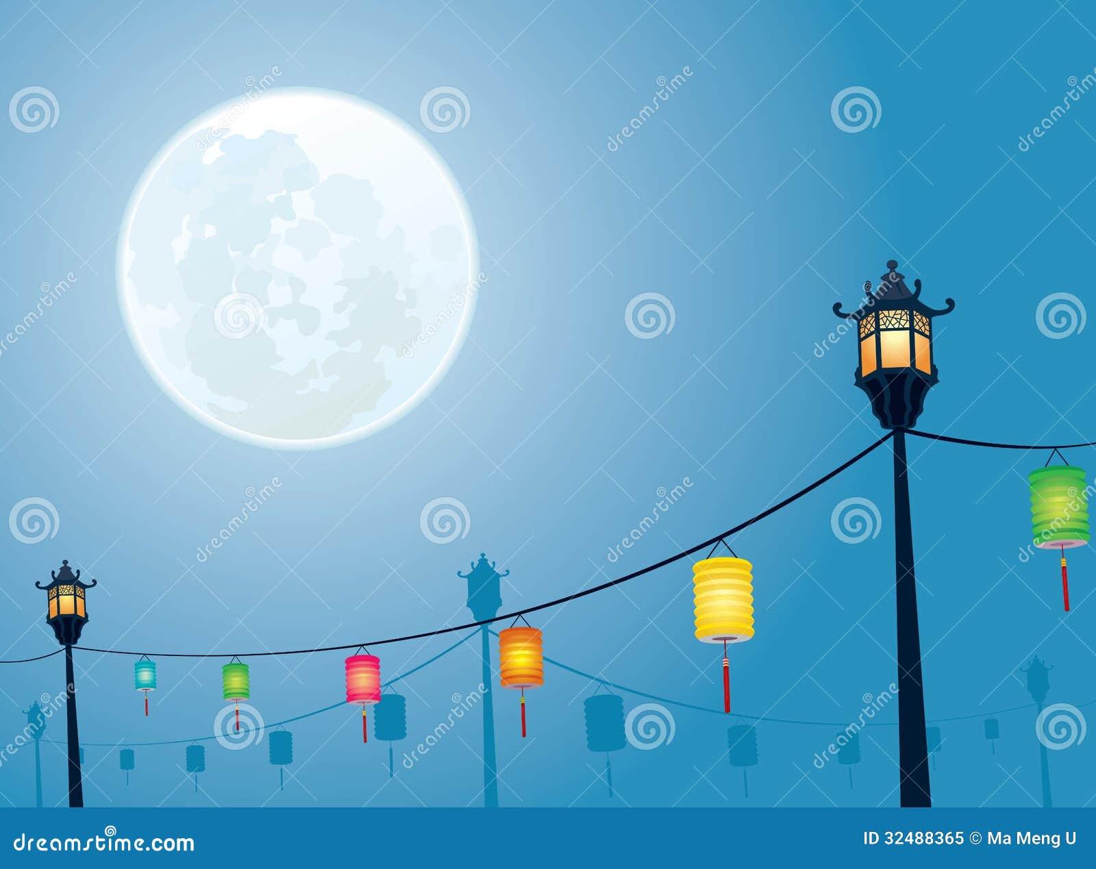 Mid autumn lantern ancient set stock vector illustration 90797427 full moon night mid autumn festival royalty free stock photo toneelgroepblik Image collections