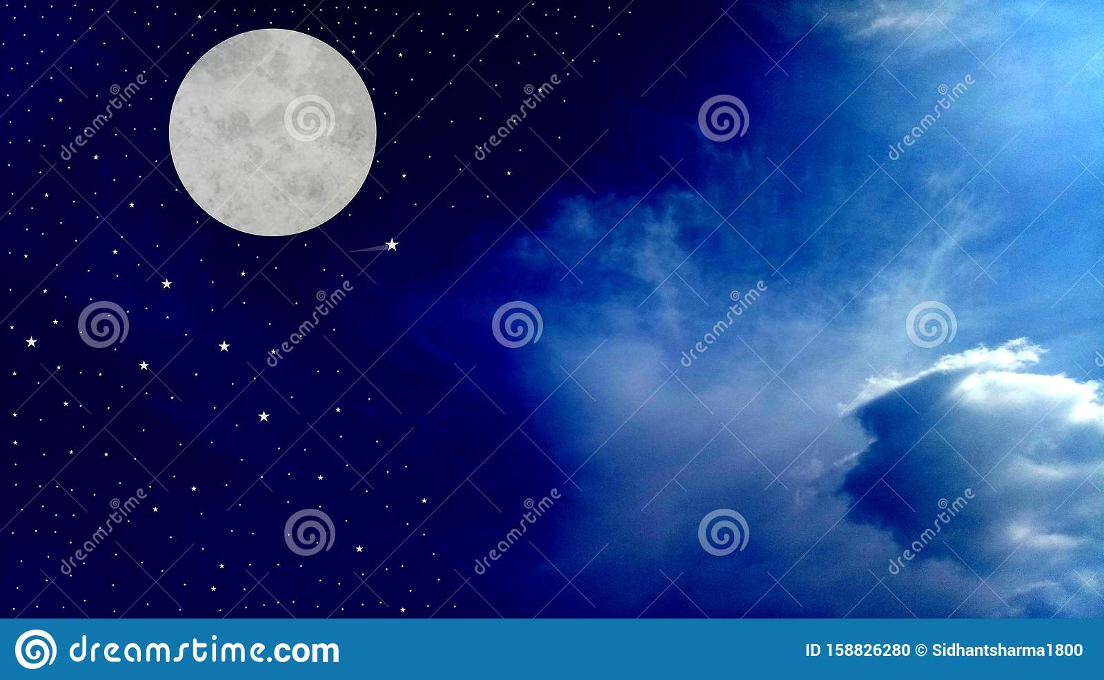 Full Moon Night Sky with clouds beautiful shinning stars beautiful view vector illustration.