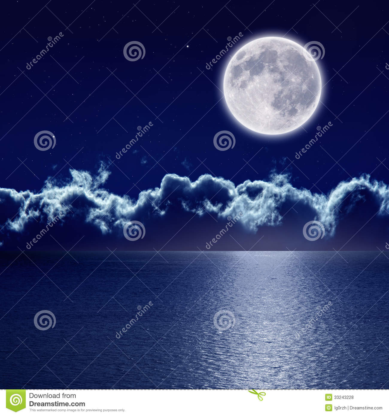 Serenity Blue Paint Full Moon Over Sea Royalty Free Stock Photos Image 33243228