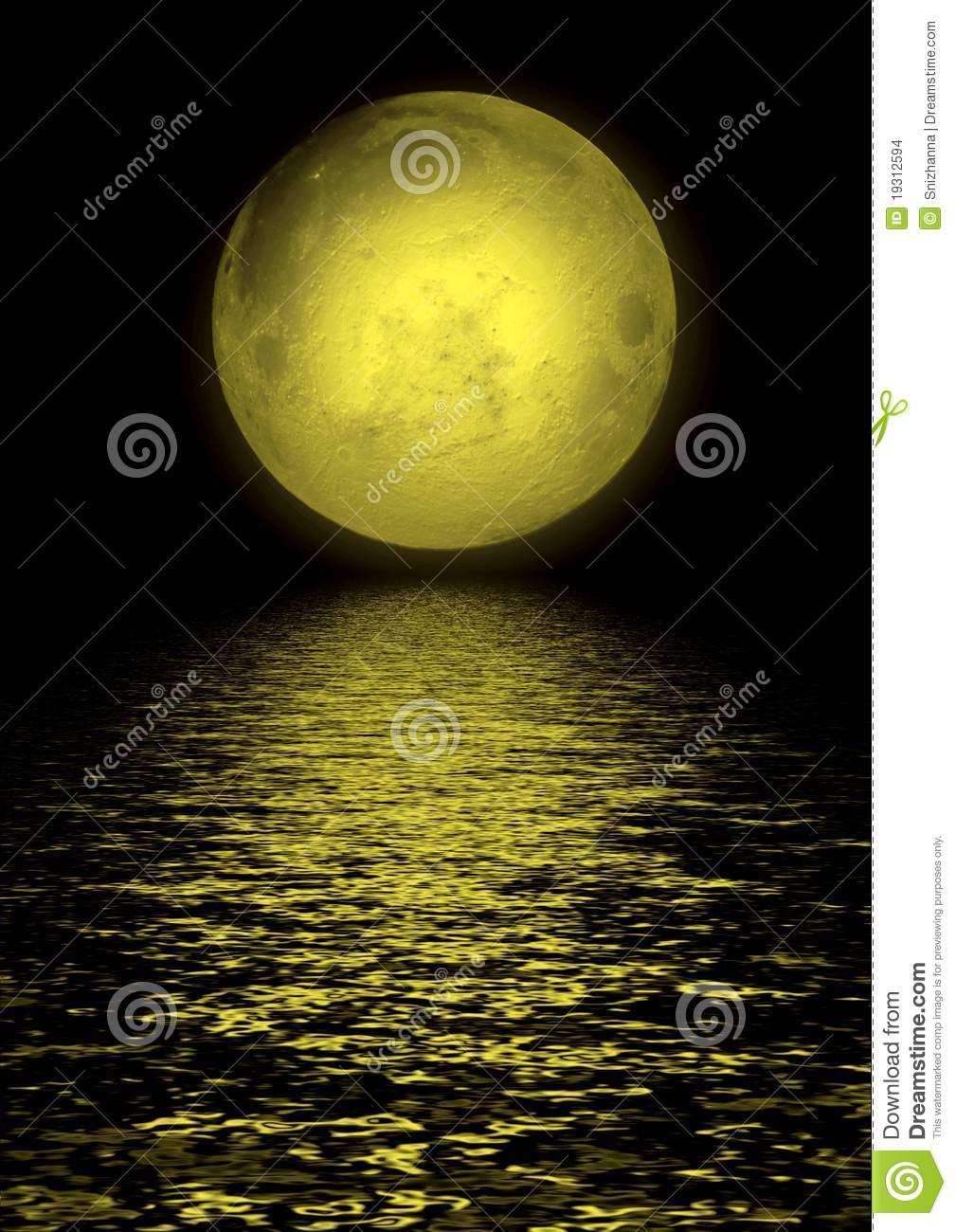 Full Moon Reflected In Water Stock Photo - Image of full