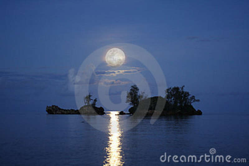 Pinner said: I was driving on the highway one night when ...   Full Moon Reflecting Off Water
