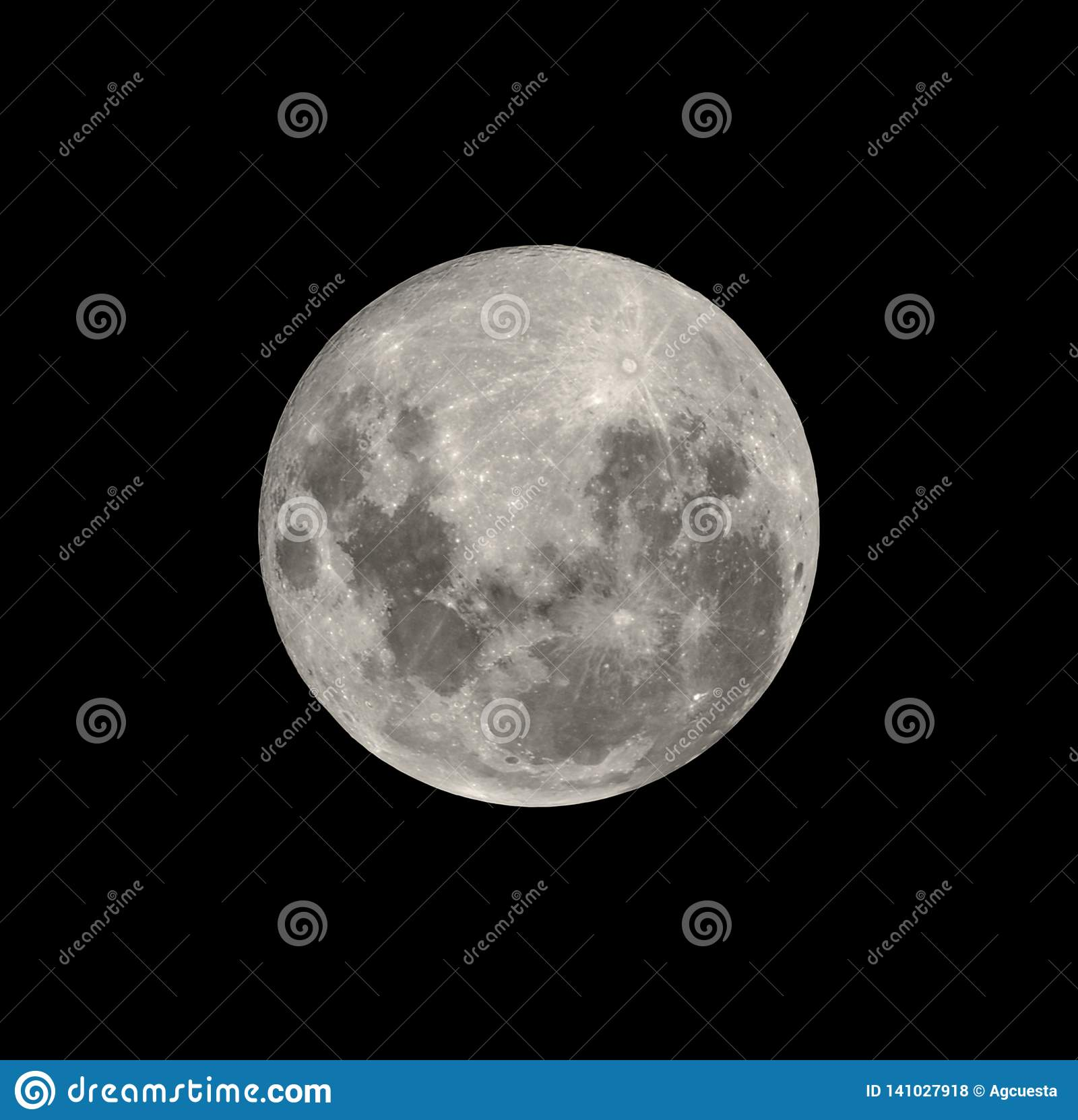 Full moon from southern hemisphere isolated on black