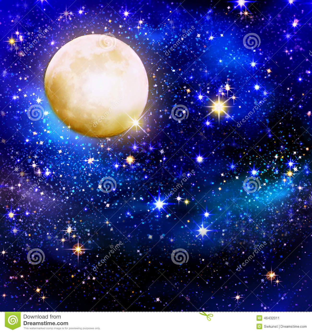 Full Moon On A Starry Skies Royalty Free Stock Photo