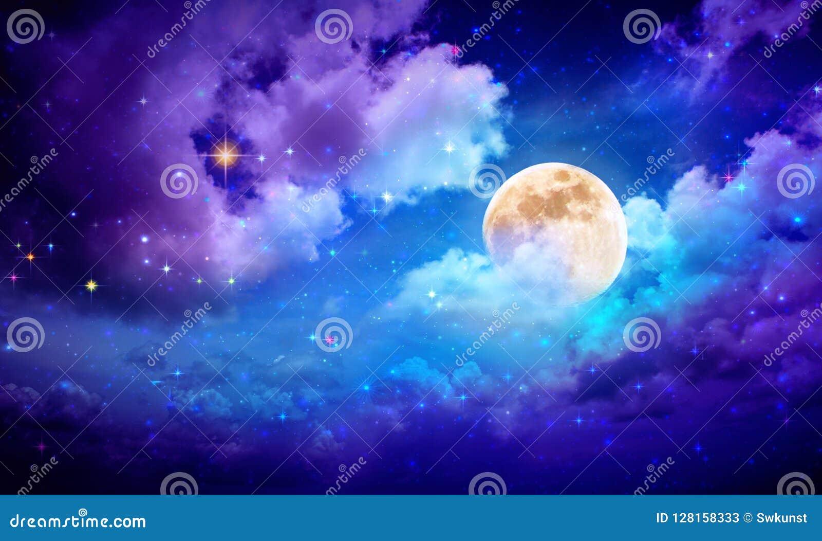 Full Moon With Stars At Dark Night Sky . Stock Image - Image of dark, blue:  128158333