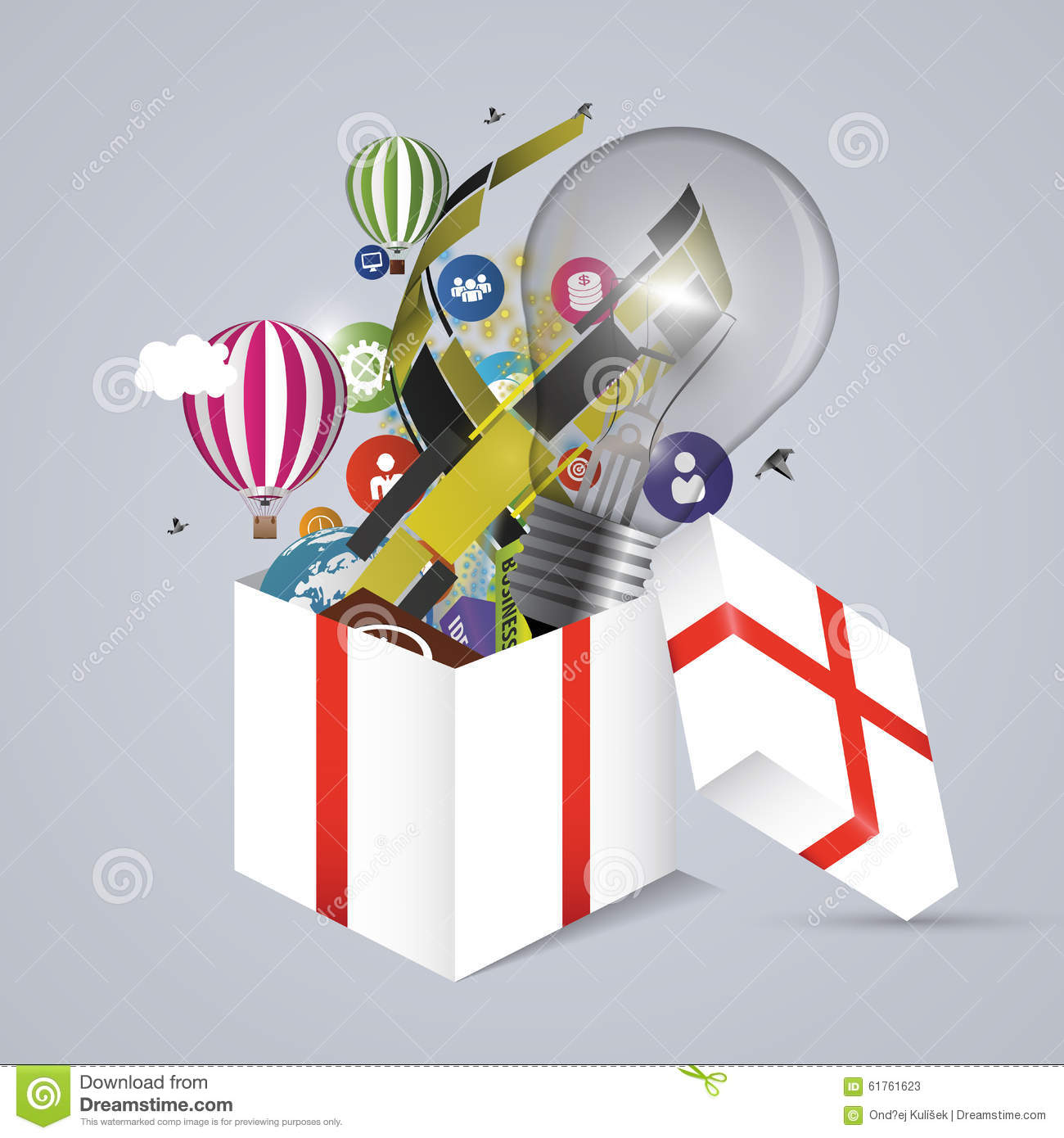 Download Full Open Gift Box Vector Illustration Stock