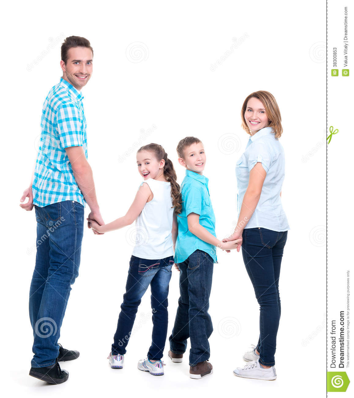 Full portrait of the happy european family with children