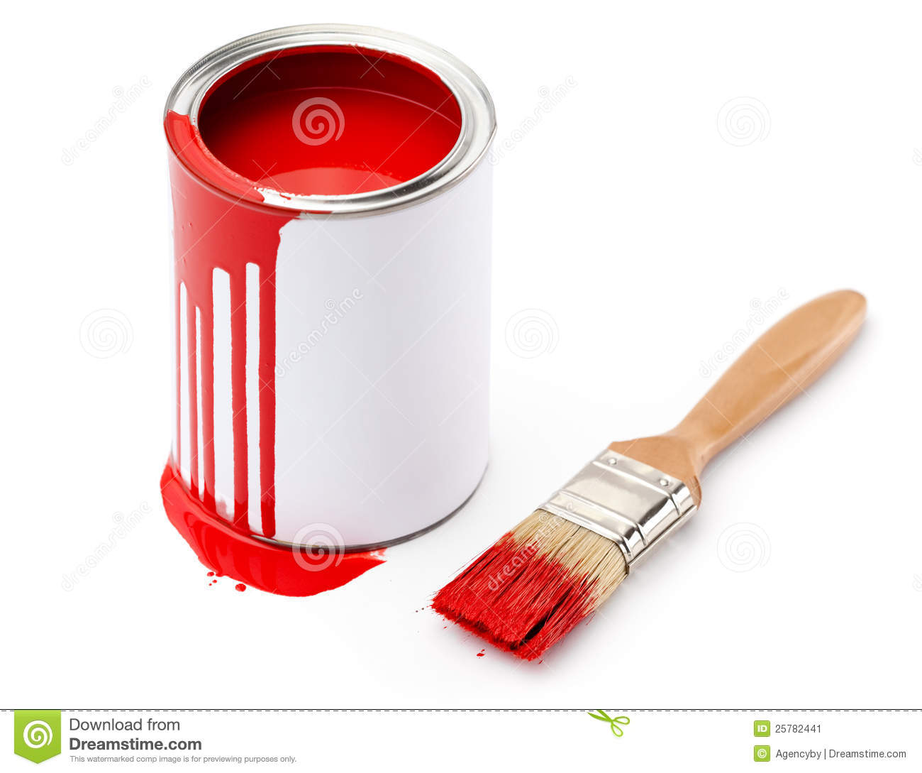 Full of red paint tin and paintbrush which is dirty with red ink ...