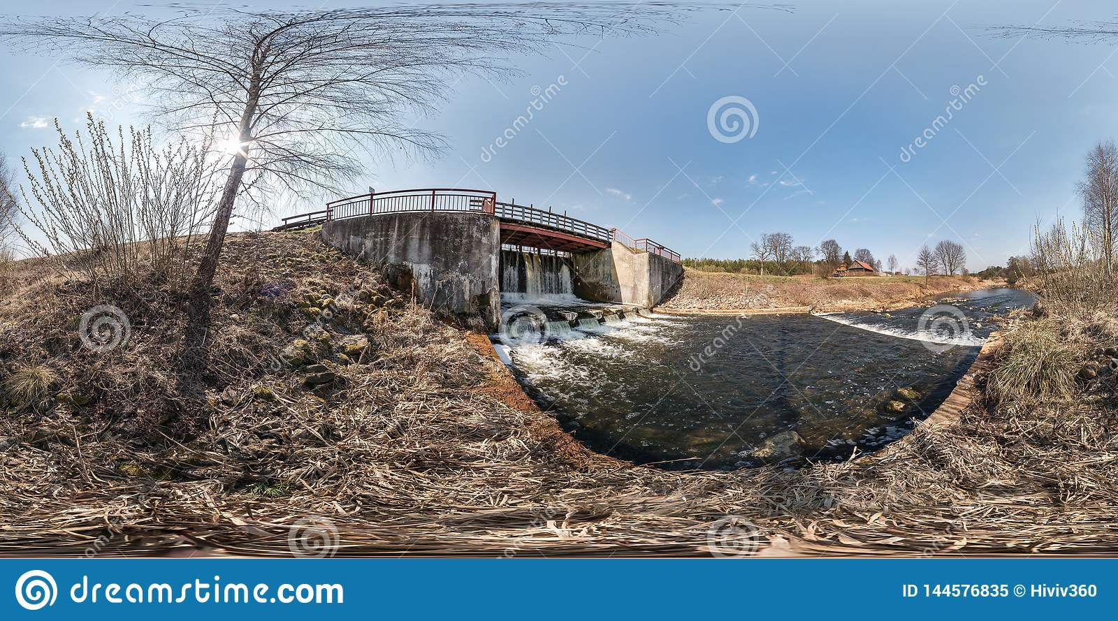 Full seamless spherical hdri panorama 360 angle view dam lock sluice on the river impetuous waterfall. background in