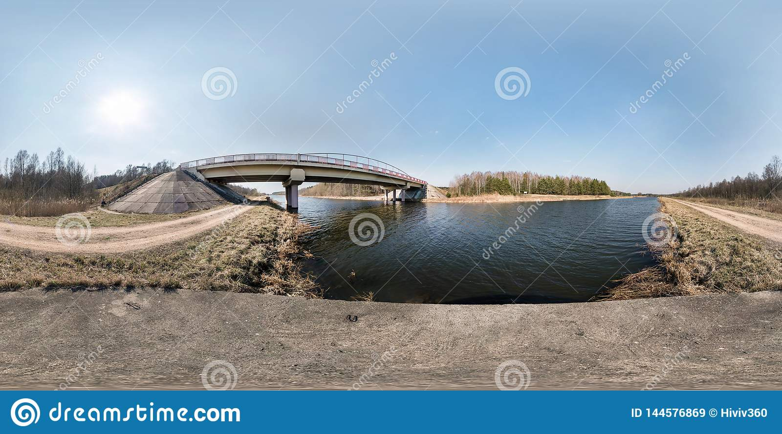 Full seamless spherical hdri panorama 360 degrees angle view bridge on the river in sunny day. background in equirectangular