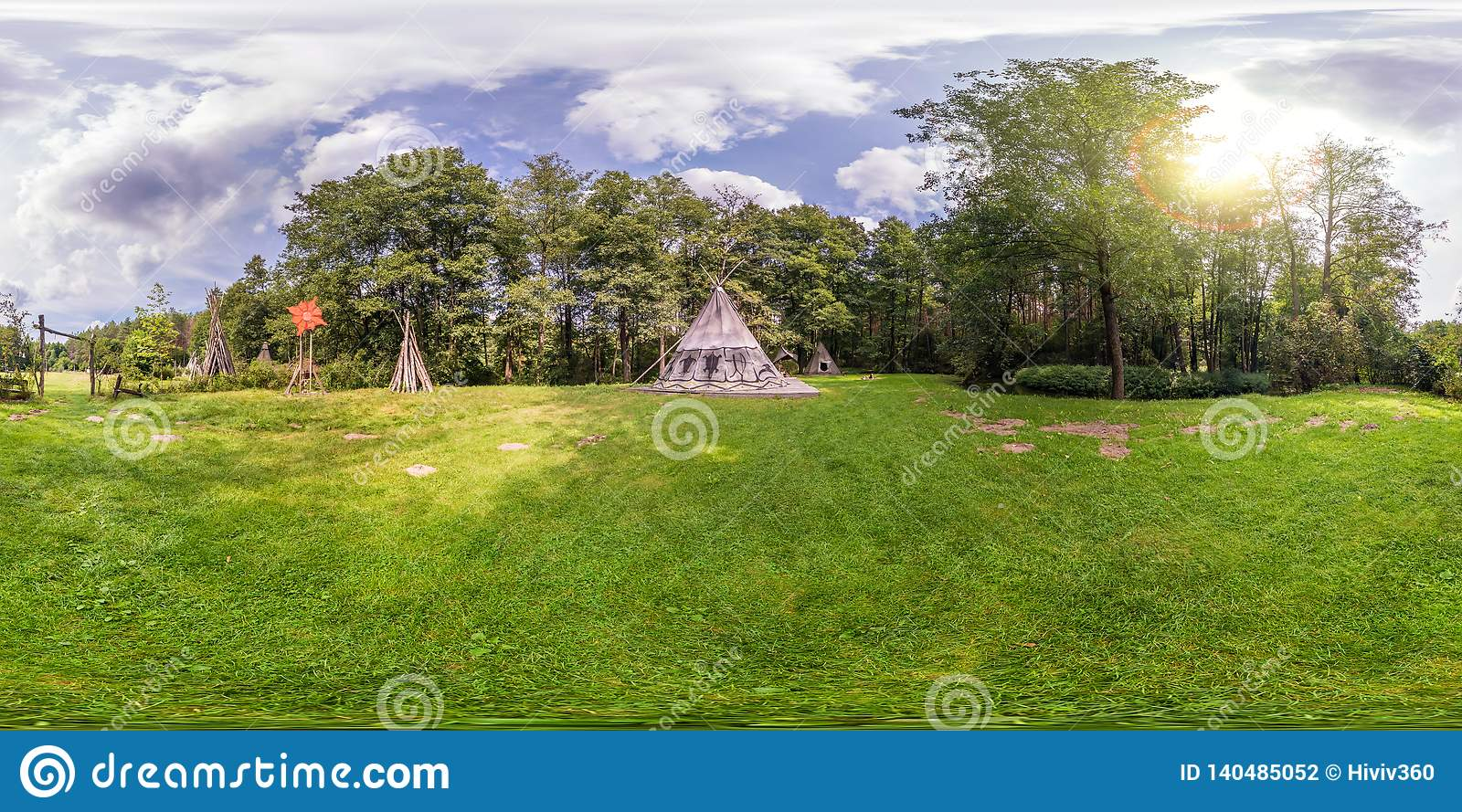 Full seamless spherical panorama 360 by 180 angle view near wigwam in the Indian village in forest in equirectangular projection,