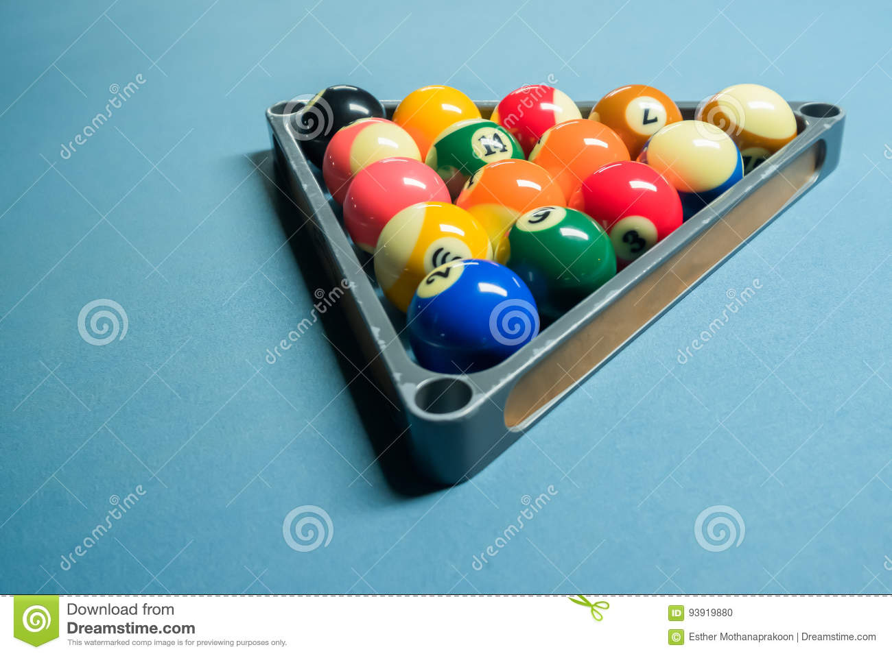 Full Set Of Pool Balls In Metal Triangle Rack On The Pool Table - How to rack a pool table