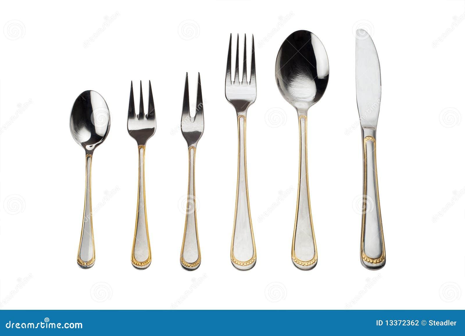 full set of silverware stock photography image 13372362