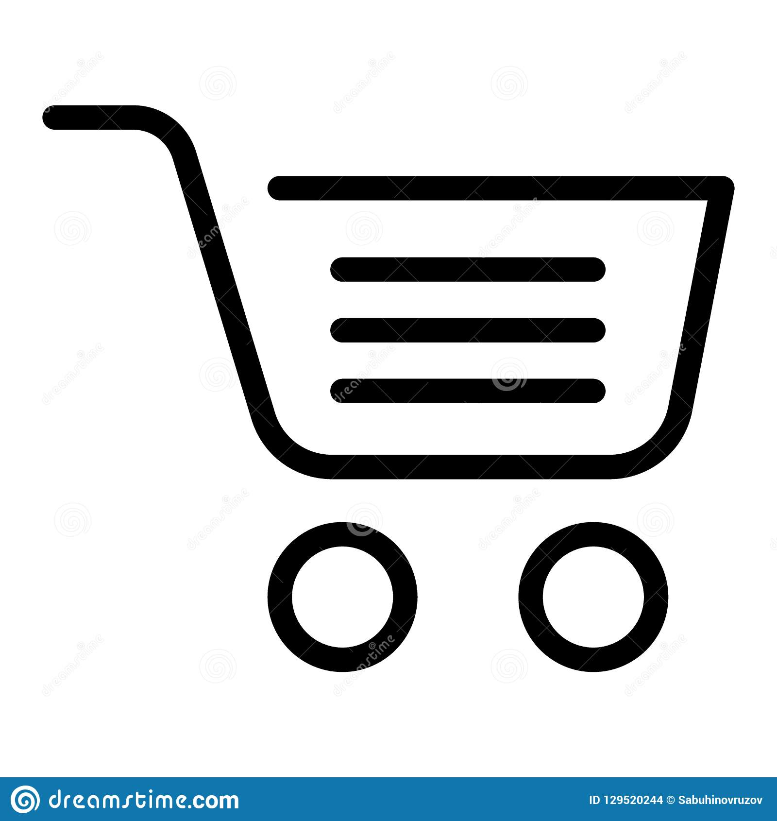 Full shopping cart line icon. Market basket vector illustration isolated on white. Shopping trolley symbol outline style design, d