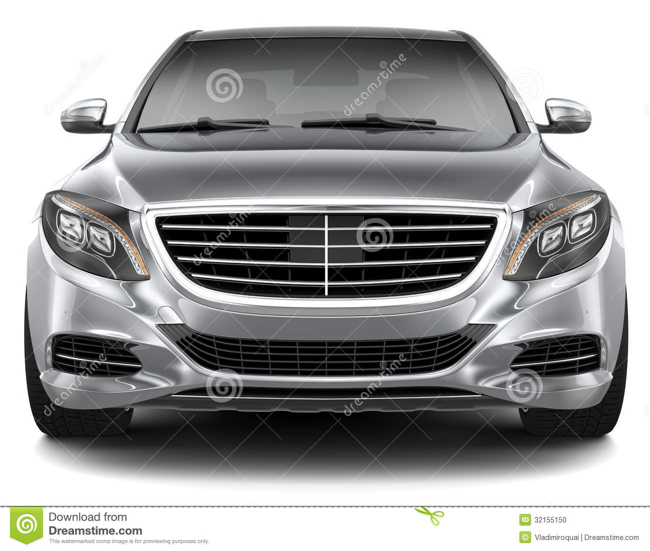 Full-size Luxury Car - Front View Stock Photo - Image ...