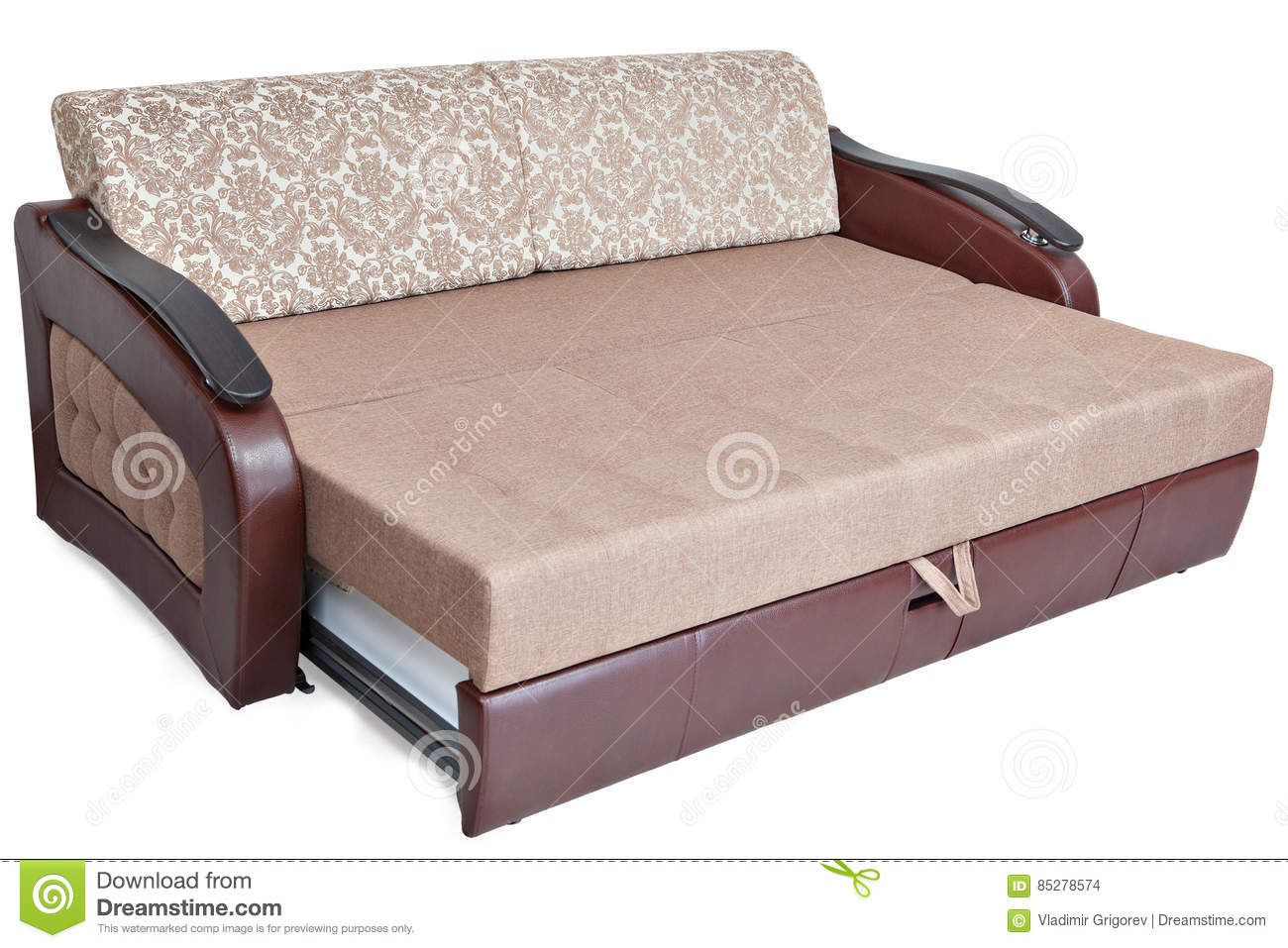 Full Size Pull Out Sofa Sleeper Light Brown Fabric And Warehouse Stock Photo Image Of Convertible Daybed 85278574