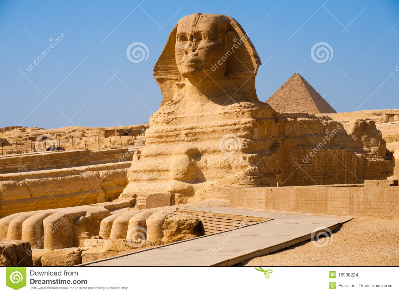 Full Sphinx Profile Pyramid Giza Egypt