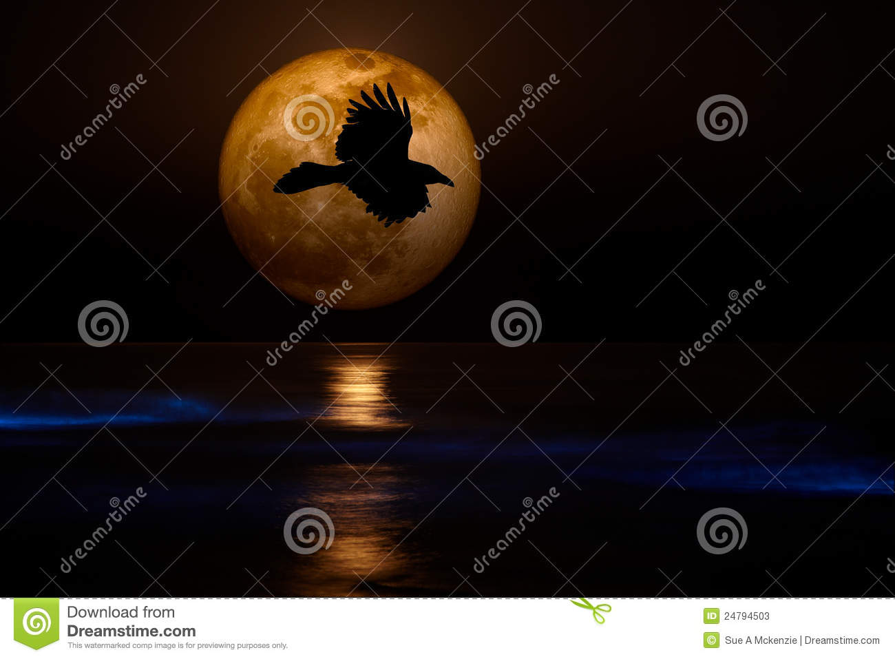 Download Full Supermoon, Black Flying Raven Ocean Waves Stock Image - Image of evening, holiday: 24794503