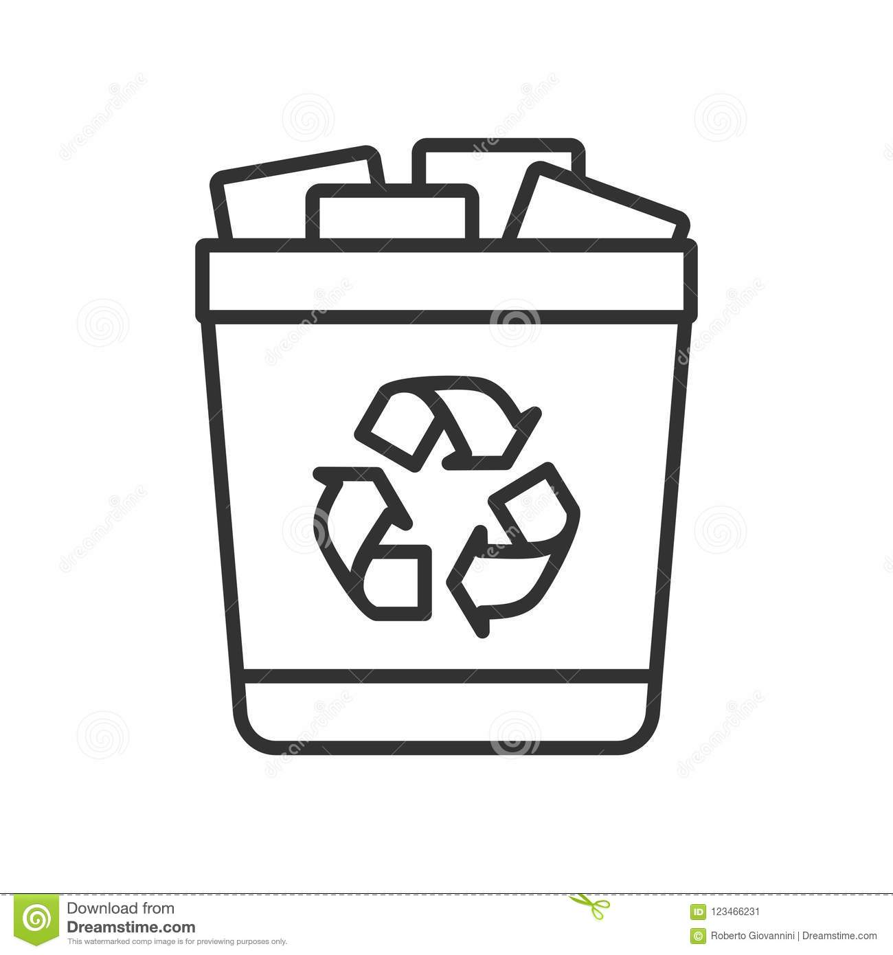 Full Trash Can Outline Flat Icon on White