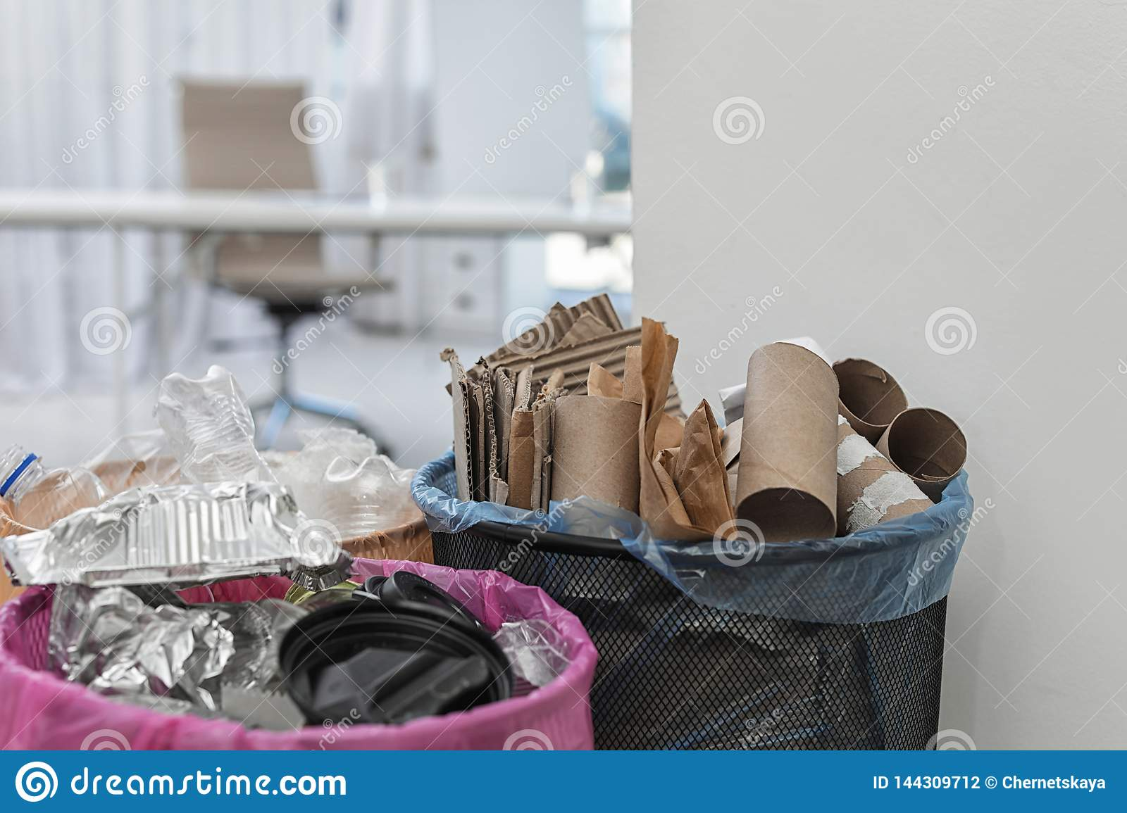 Full Trash Cans In Modern Office Waste Recycling Stock Photo Image Of Copy Full 144309712