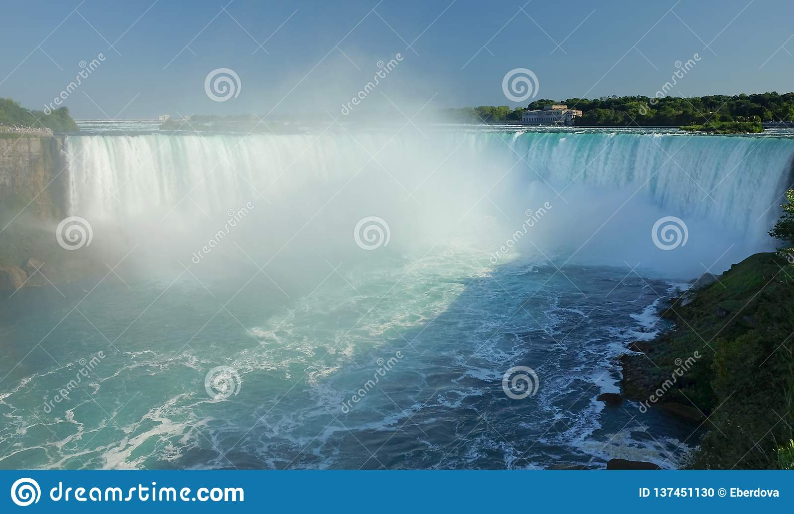 Full view of Niagara Falls from Canadian side.