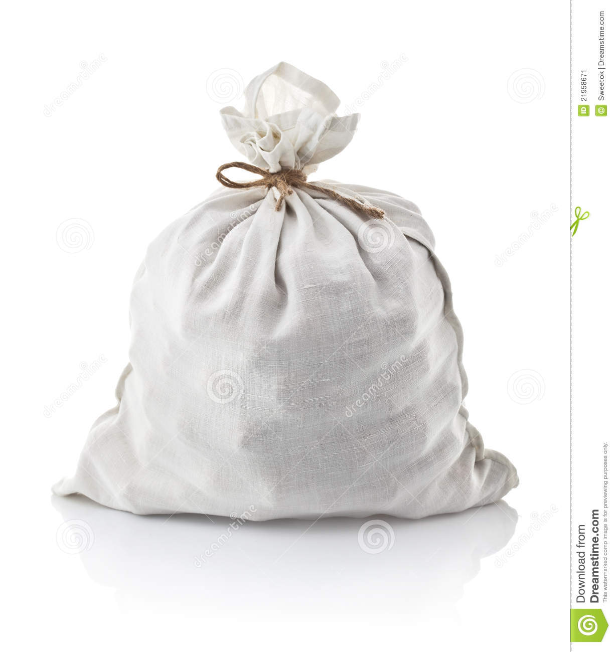 Full White Sack Tied By Rope Stock Image - Image of nobody