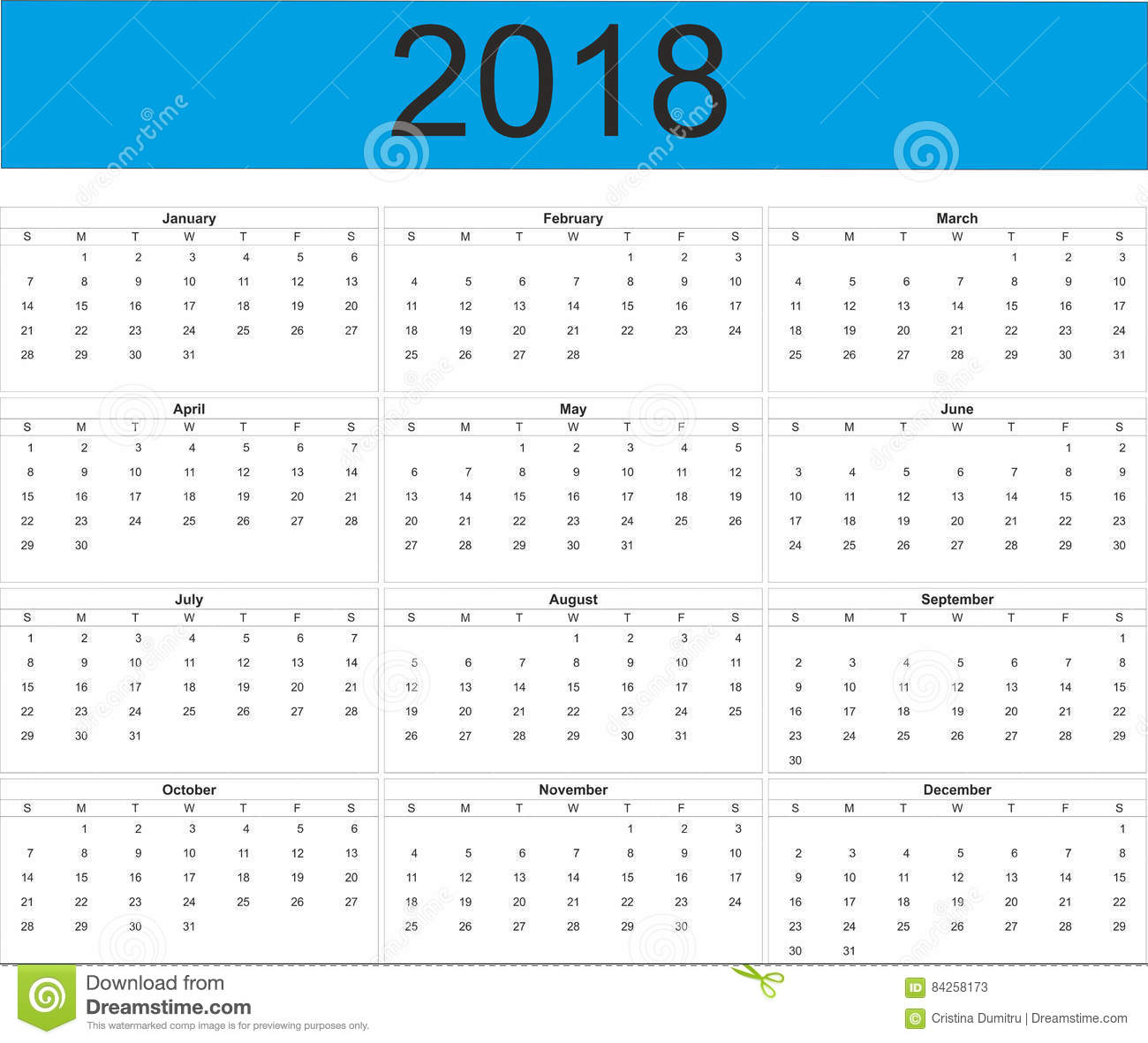 Downloadable calendar 2018
