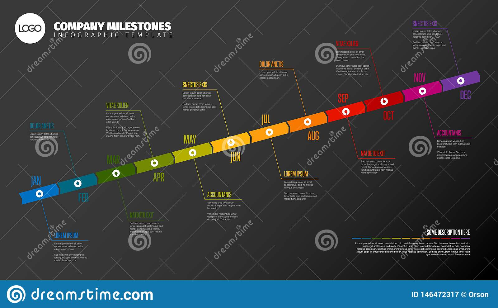 full year timeline template stock vector
