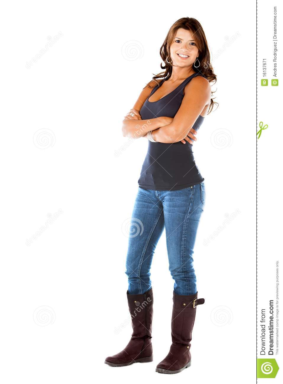 Fullbody casual woman stock image. Image of stand, people ...