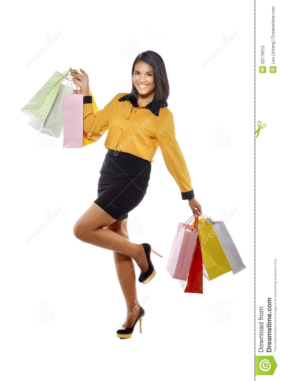 Woman posing with shopping bags isolated on white background full - Fullbody Portrait Woman With Shopping Bags Royalty Free Stock Photo