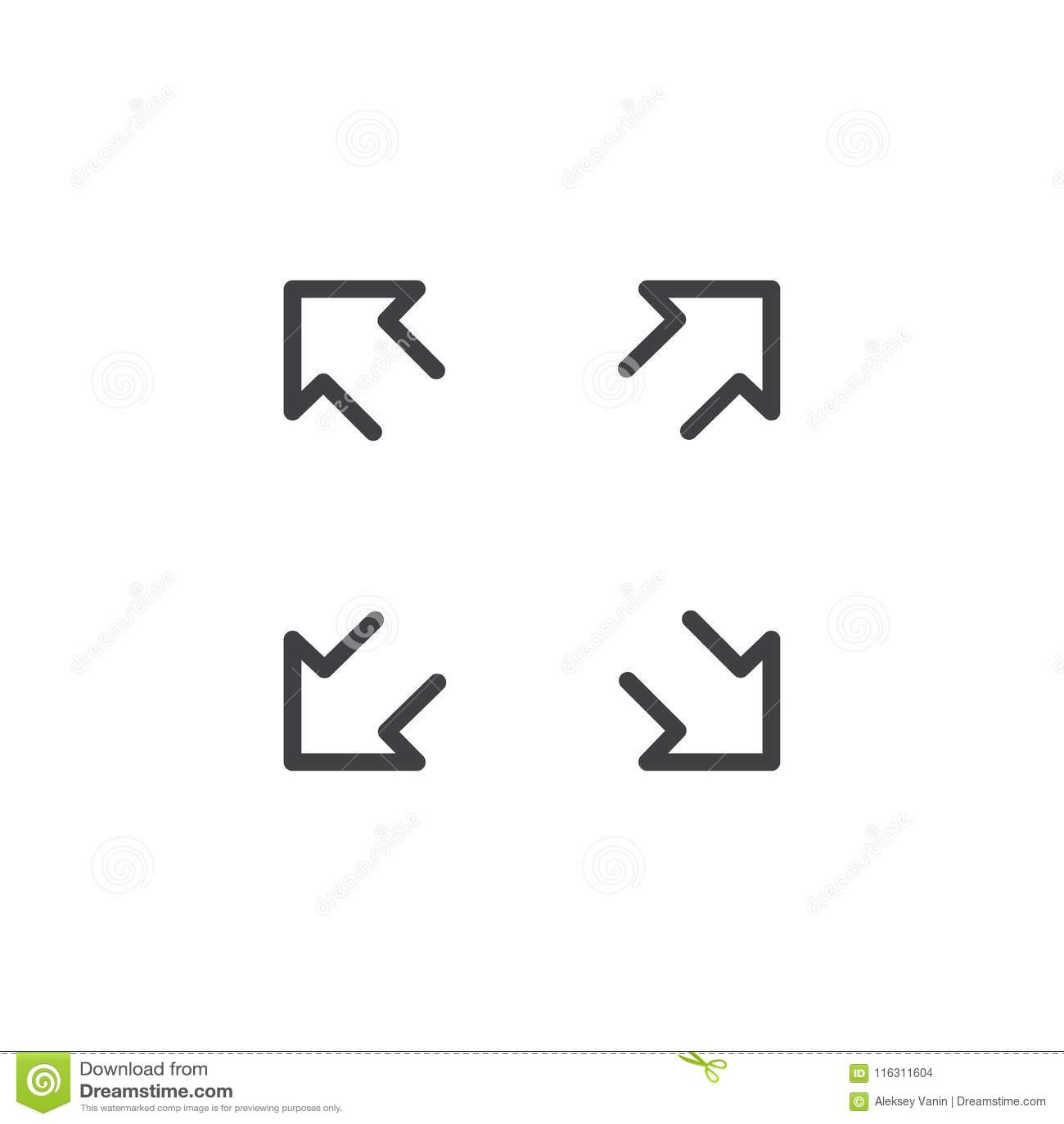 Fullscreen outline icon stock vector  Illustration of icon