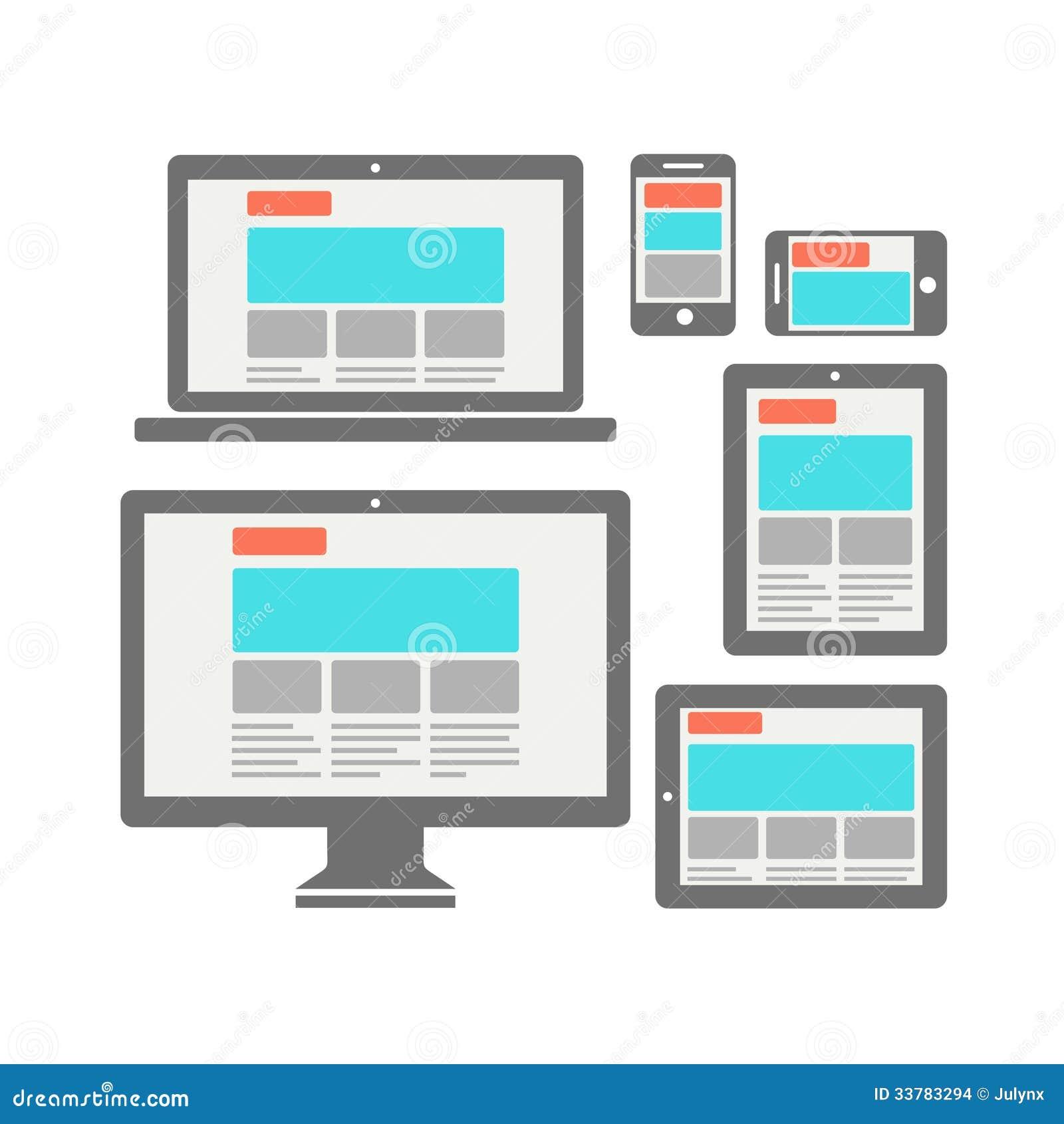 fully responsive web design stock vector image 33783294. Black Bedroom Furniture Sets. Home Design Ideas