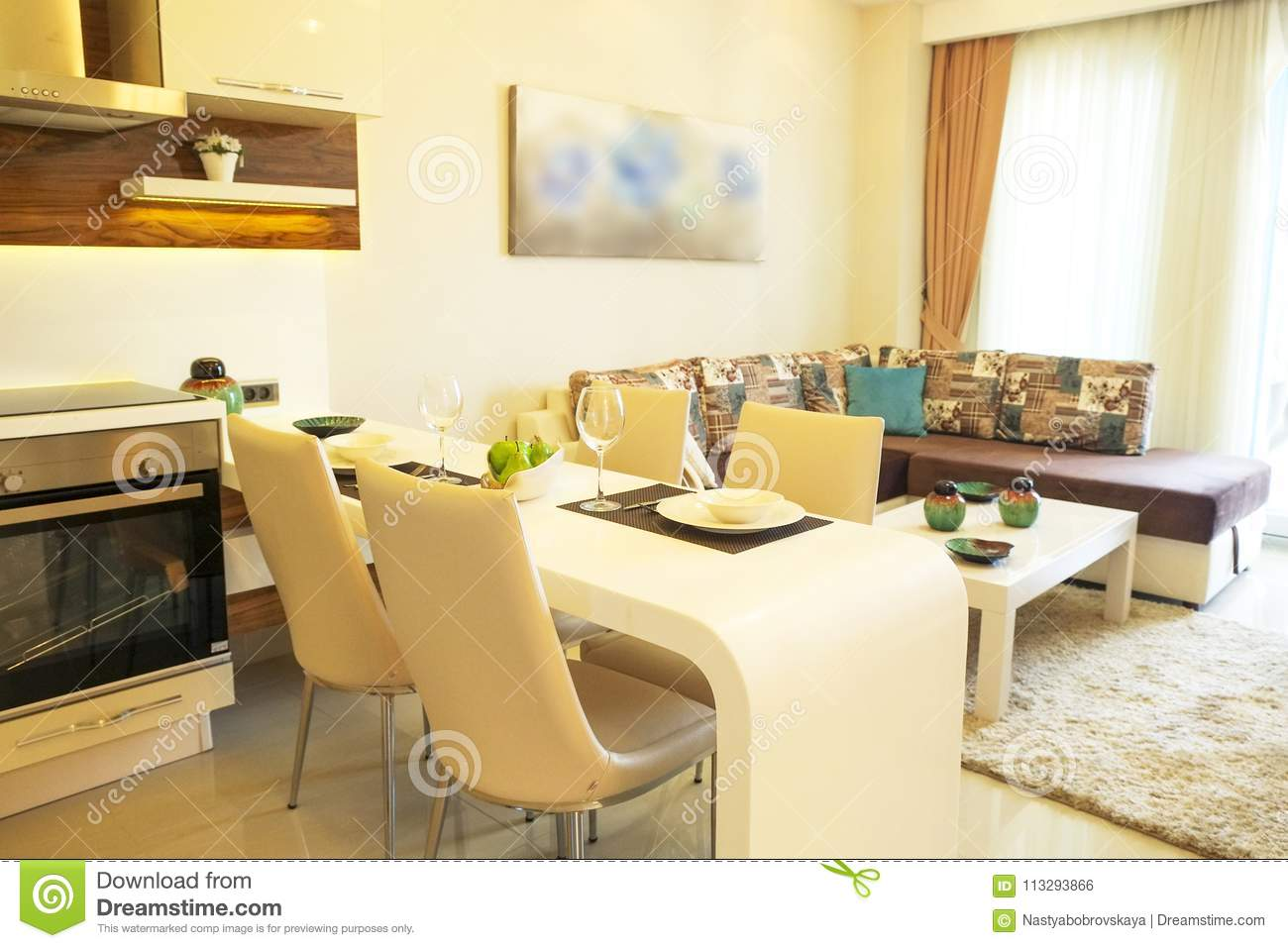 Beautiful Sun Side Appartment With Simple Minimalistic Modern Interior Design Open Plan Kitchen Living Room In Sunlight Stock Photo Image Of Estate Floor 113293866