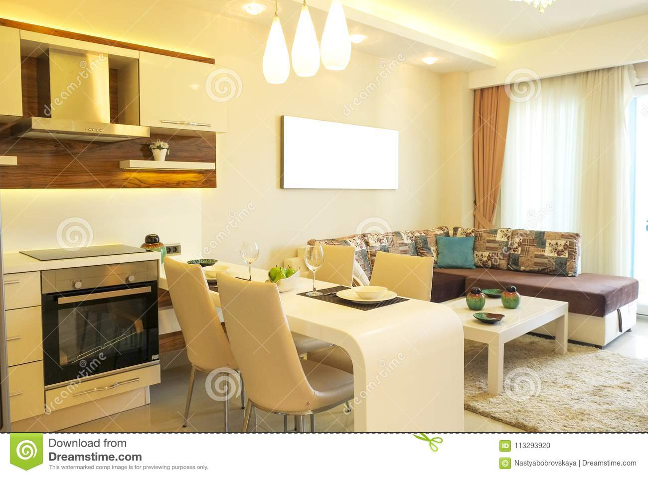 contemporary open plan kitchen living room beautiful sun side appartment with simple minimalistic 9455