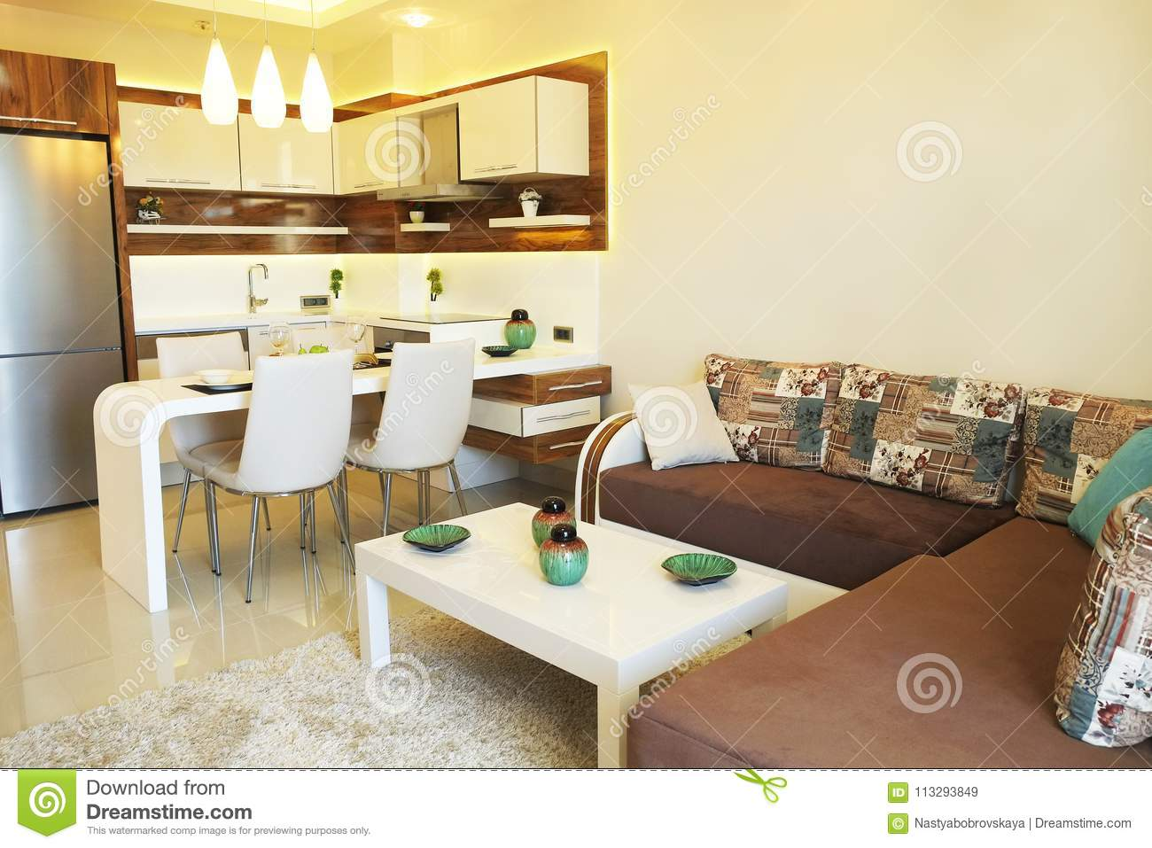 Beautiful Sun Side Appartment With Simple Minimalistic Modern Interior Design Open Plan Kitchen Living Room In Sunlight Stock Image Image Of Cabinets Northwest 113293849