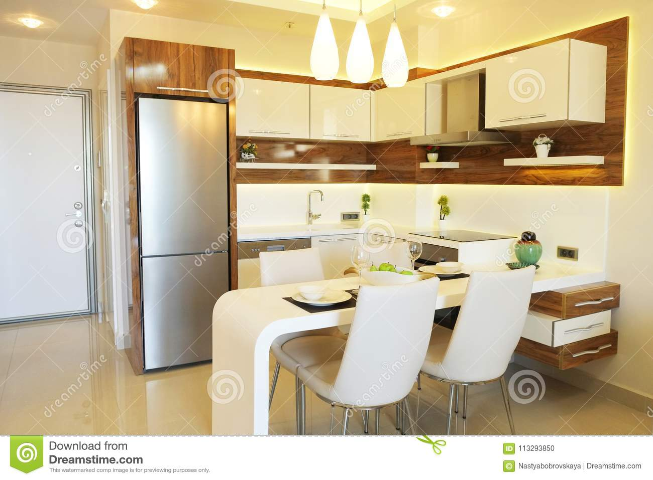 Beautiful Sun Side Appartment With Simple Minimalistic Modern Interior Design Open Plan Kitchen Living Room In Sunlight Stock Photo Image Of Modern Appliances 113293850