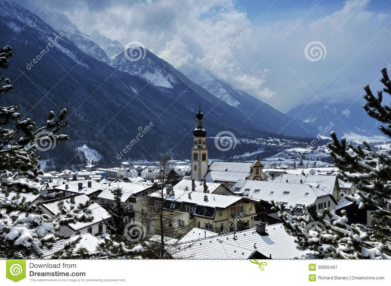 Fulpmes Austria  city photos gallery : Winter scenery in Fulpmes village in Stubaital in Tyrol Austria.
