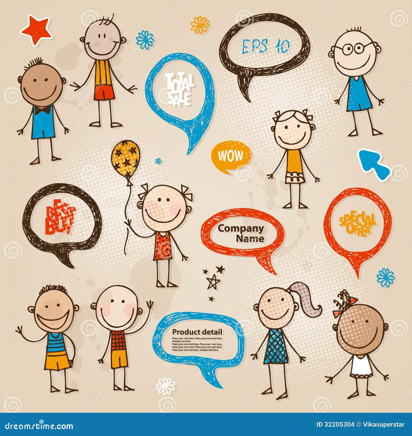 Fumetti disegnati a mano dei bambini messi immagini stock for Immagini teschi disegnati