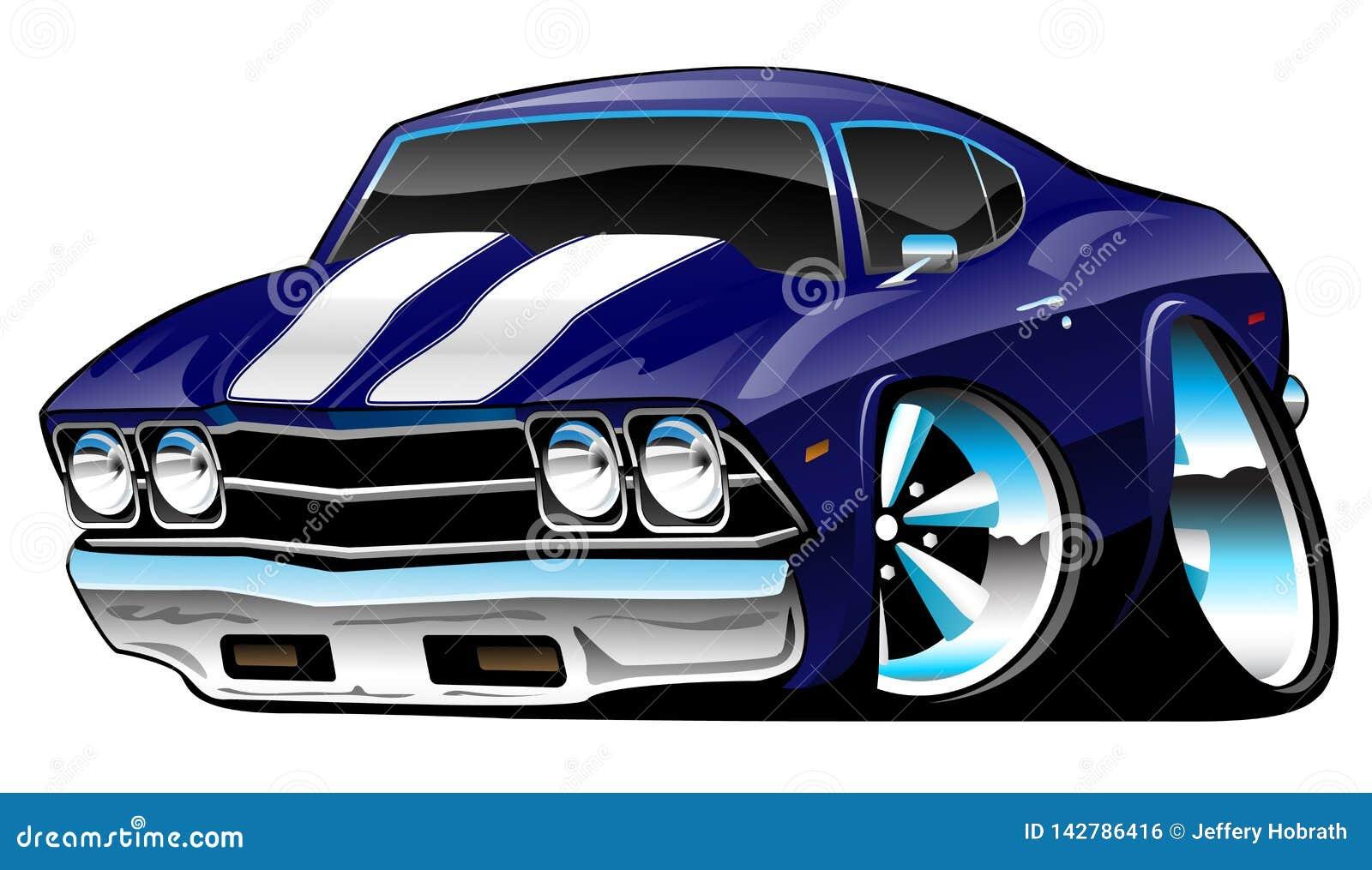 Fumetto americano classico dell automobile del muscolo, blu di cobalto profondo, illustrazione di vettore