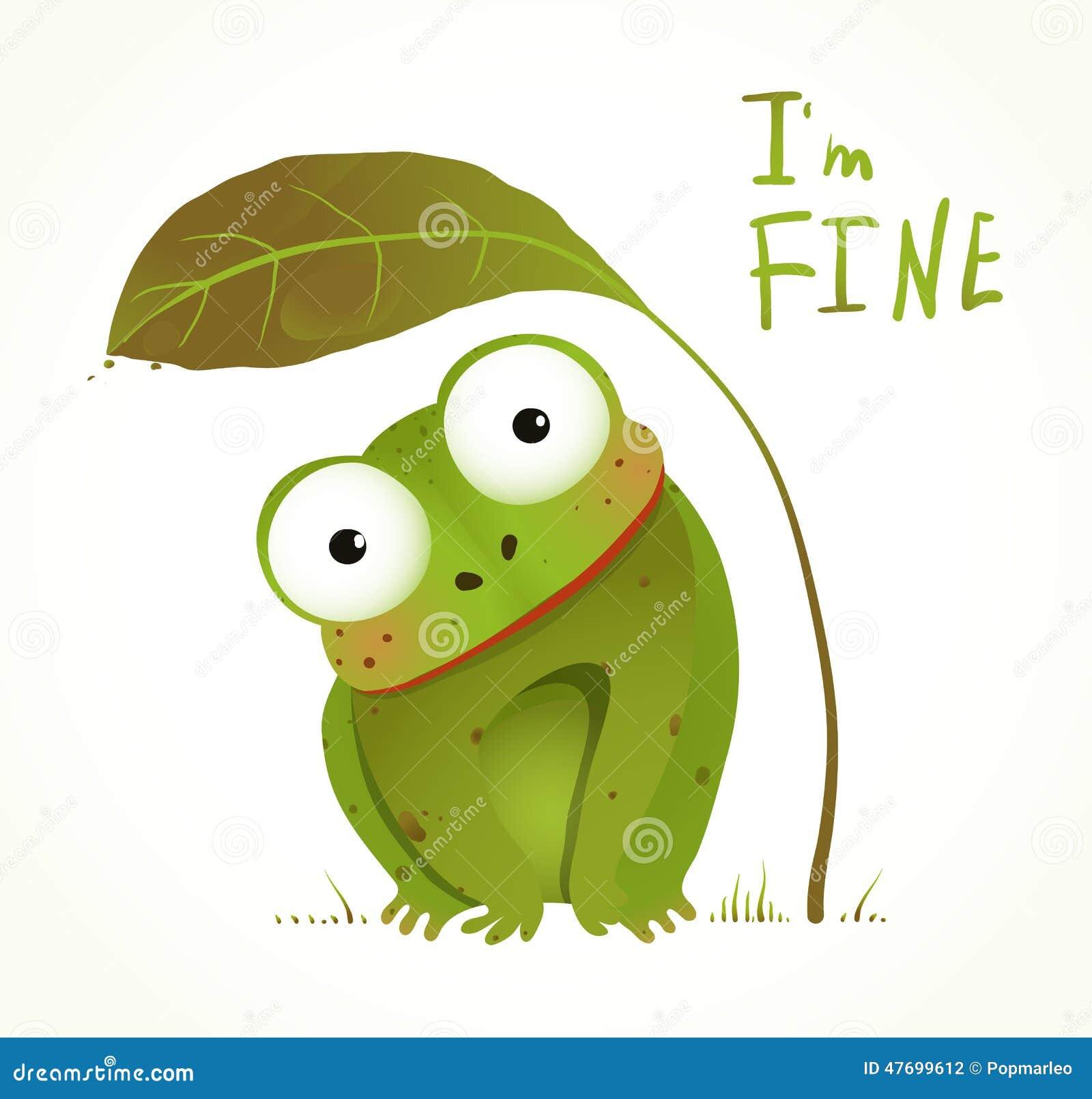 Fumetto animale puerile di divertimento della rana verde del bambino