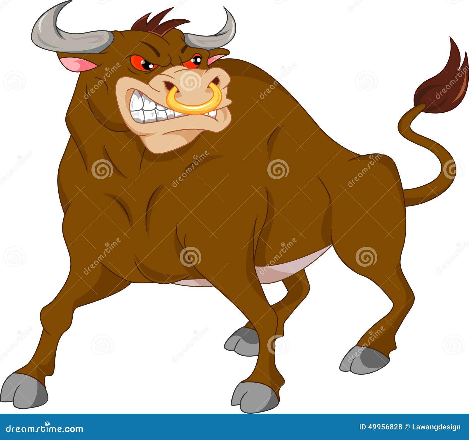 Fumetto arrabbiato del toro illustrazione vettoriale