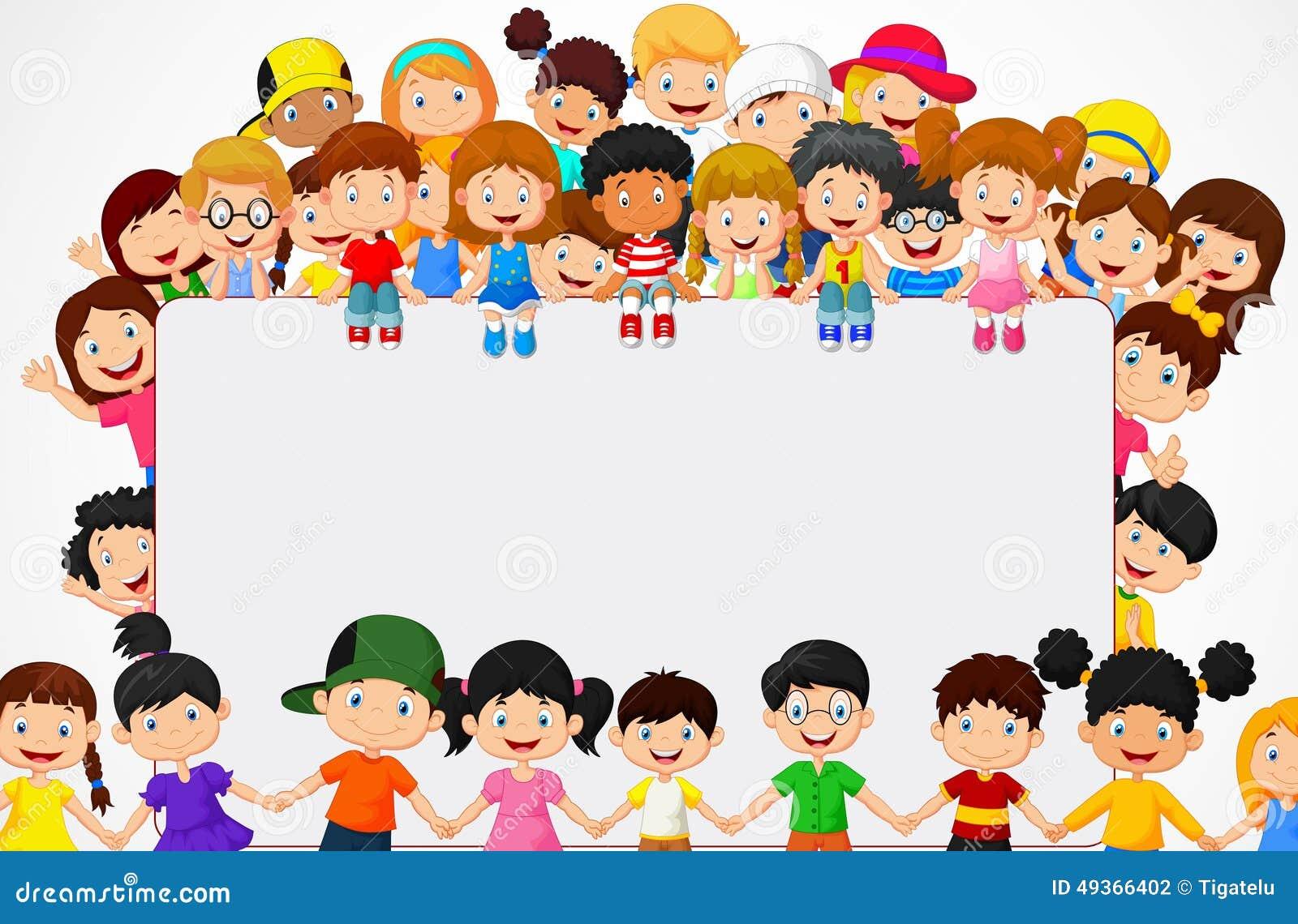 Fumetto dei bambini della folla con il segno in bianco