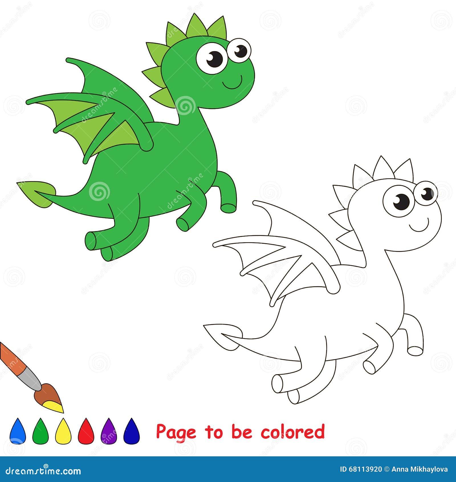 Fumetto Del Drago Pagina Da Colorare Illustrazione Vettoriale