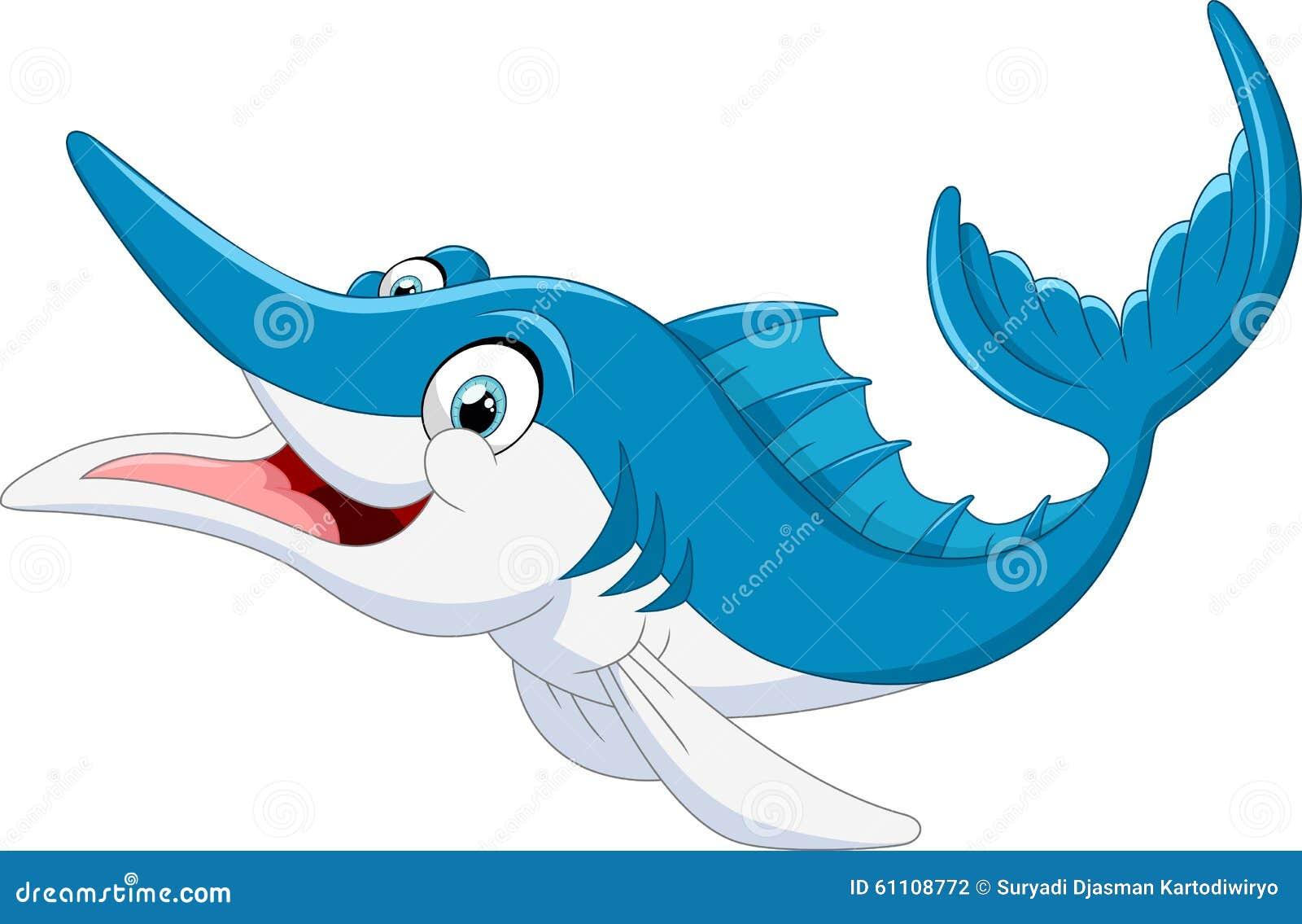 Fumetto del pesce di marlin illustrazione stock