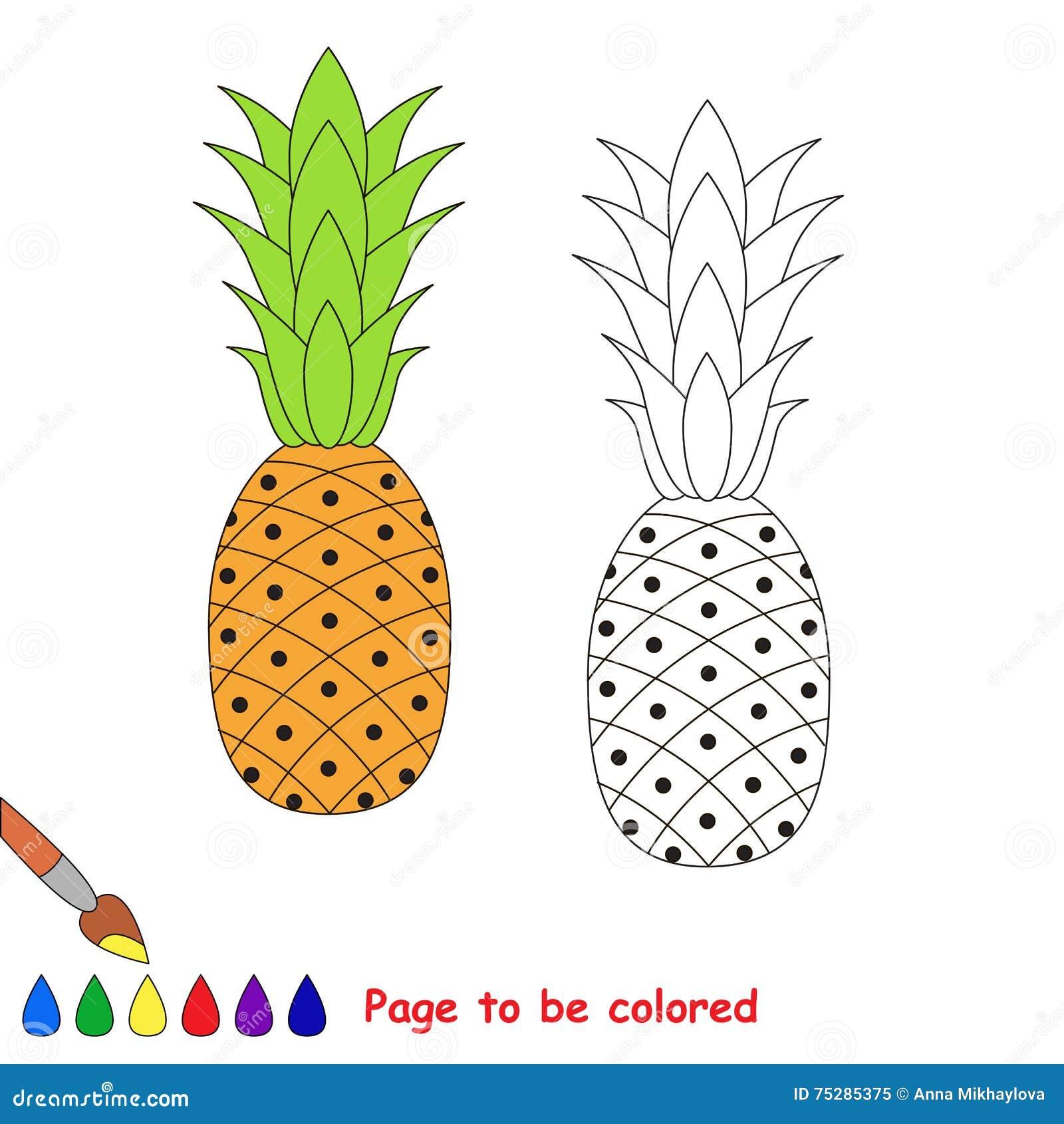 Fumetto Dell Ananas Pagina Da Colorare Illustrazione Vettoriale