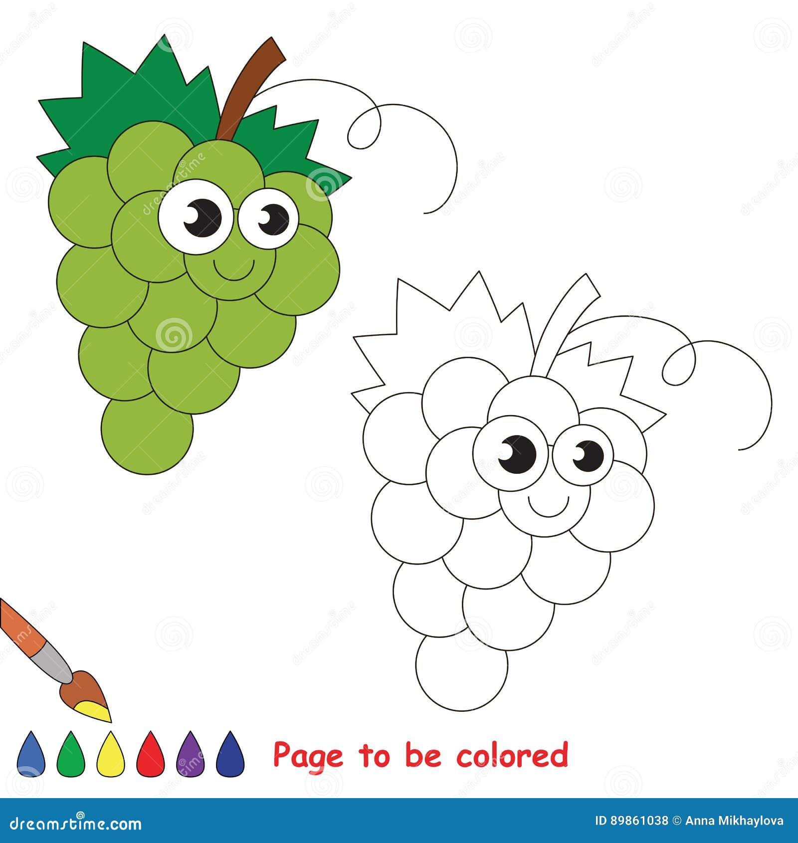Fumetto Dell Uva Bianca Pagina Da Colorare Illustrazione Vettoriale Illustrazione Di Profilo Alimento 89861038