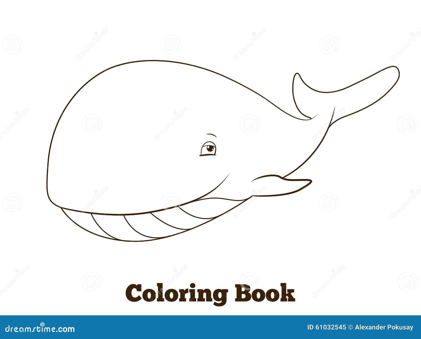 Fumetto Della Balena Del Libro Da Colorare Educativo Illustrazione