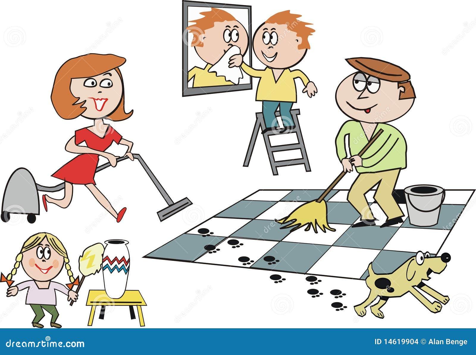 Fumetto di pulizia della famiglia illustrazione vettoriale for Pulizia della casa