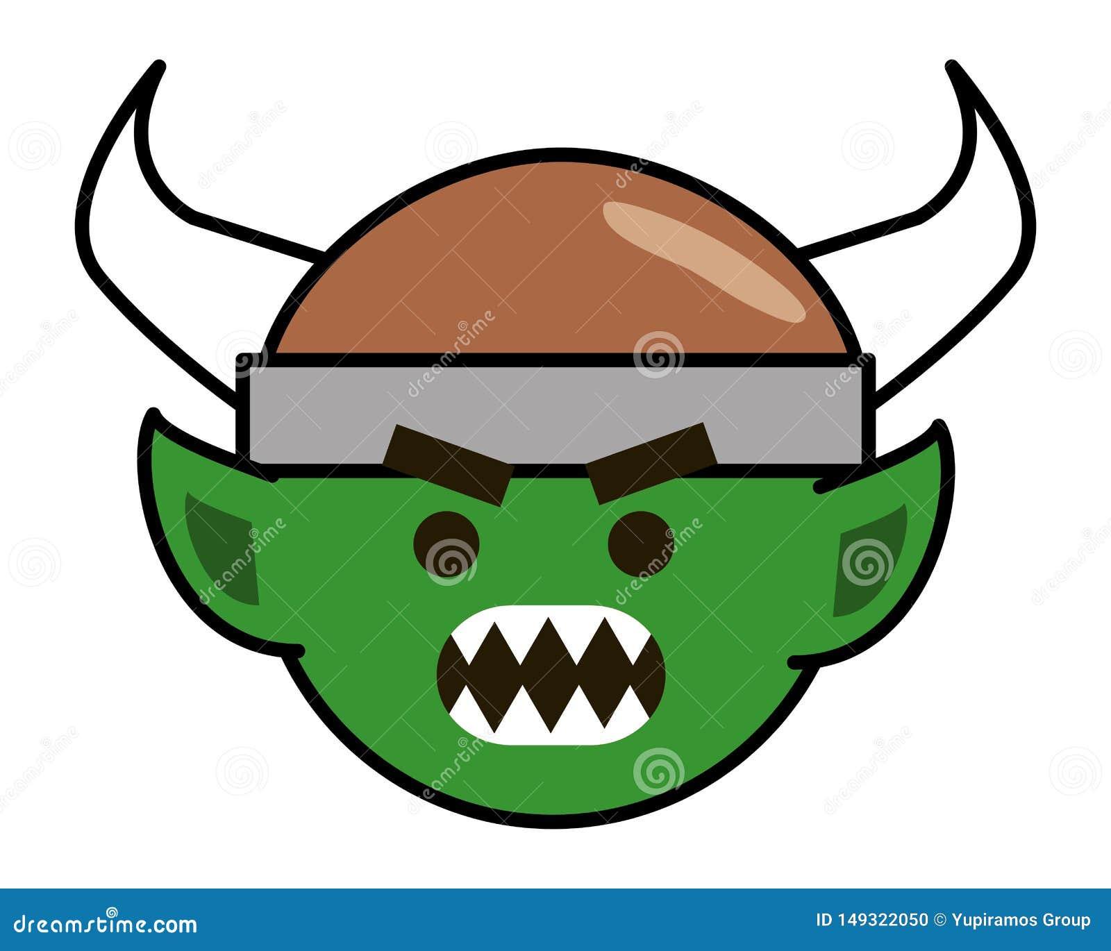 Fumetto di Troll con l illustrazione di vettore di progettazione del casco di vichingo